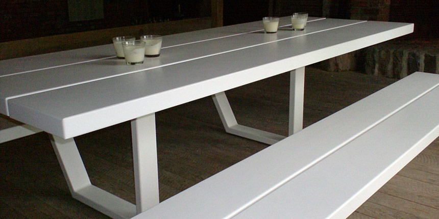 Cassecroute table 300 cm white cassecroute handmade for Table 300 cm