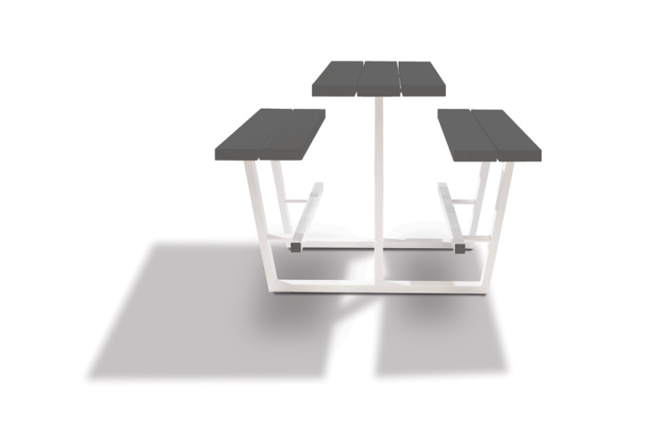 beer table - hoge picknicktafel - grijze balken witte onderstellen
