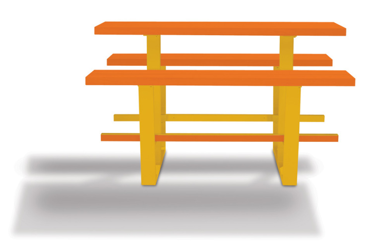 beer table - hoge picknicktafel - oranje balken gele onderstellen