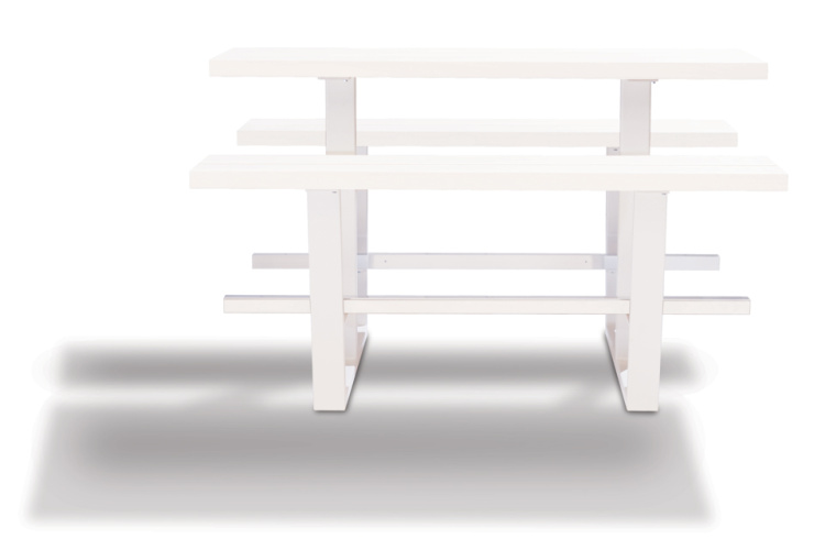 beer table - hoge picknicktafel - witte balken witte onderstellen