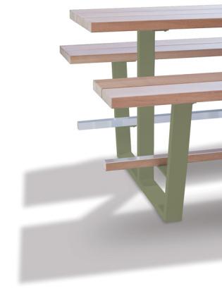beer table - hoge picknicktafel - iroko balken olijfgroene onderstellen