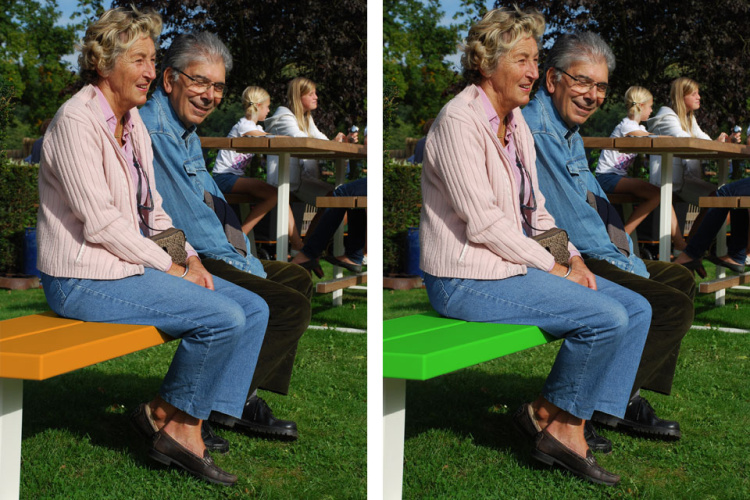 bench - picknickbank - oranje of groene balken witte onderstellen