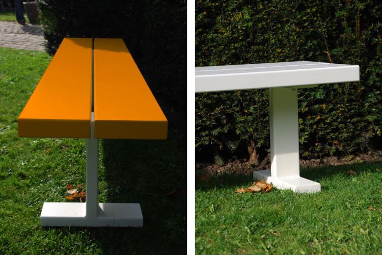 bench - picknickbank - oranje of witte balken witte onderstellen