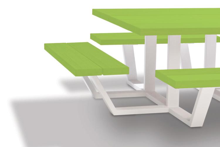 carré - vierkante picknicktafel - groene balken witte onderstellen