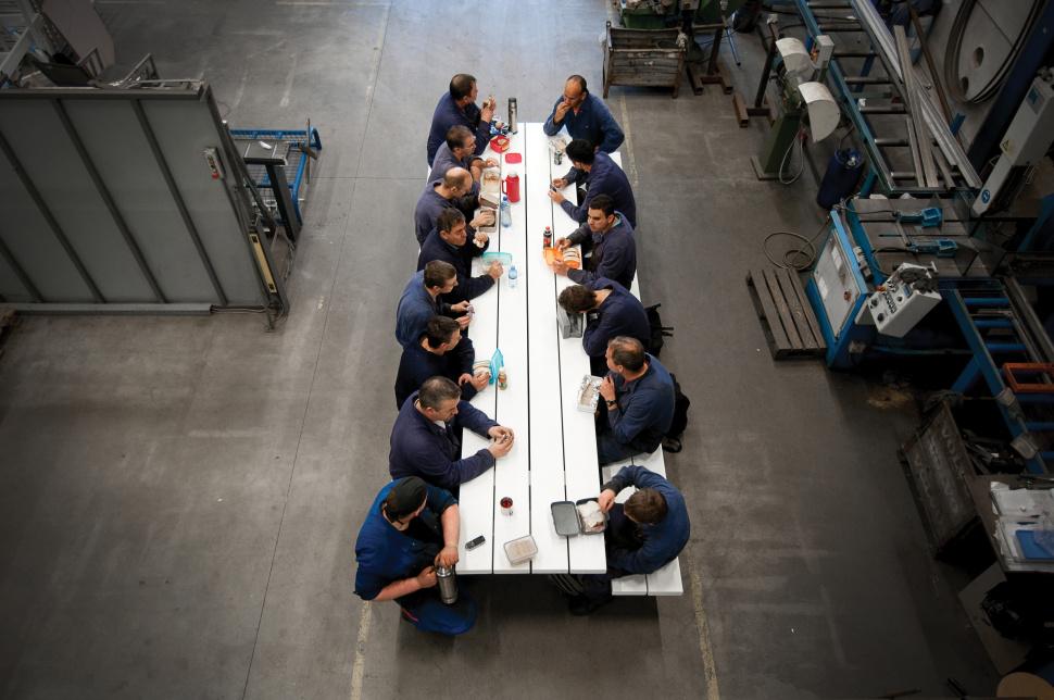 cassecroute picknicktafel aluminium design 6 meter wit grijs