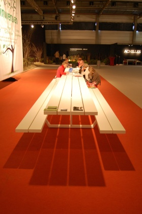 cassecroute picknicktafel aluminium design 6 meter wit grijs sfeer