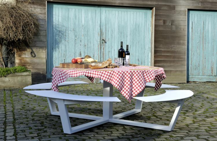 rond design picknicktafel wit staal aluminium