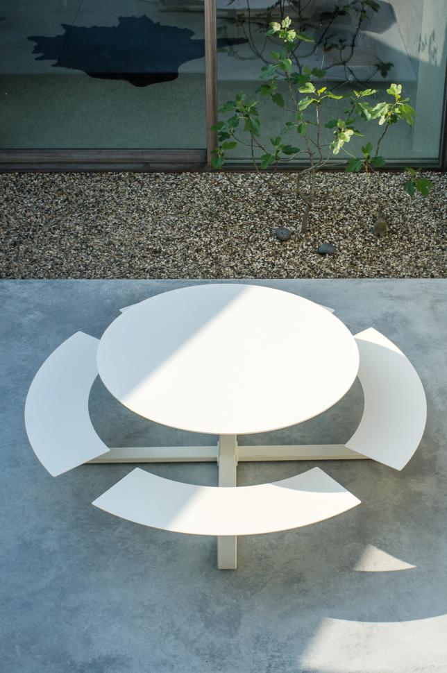 Foto 39 s cassecroute handgemaakte picknicktafels - Table ronde aluminium ...