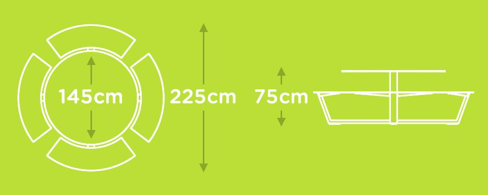 design picknicktafel rond 8 tot 12 personen wit groot aluminium staal