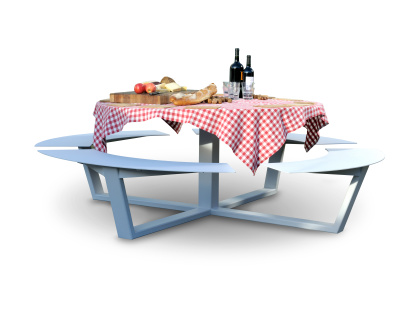 Handmade picnic tables cassecroute wood and aluminium - Table ronde aluminium ...