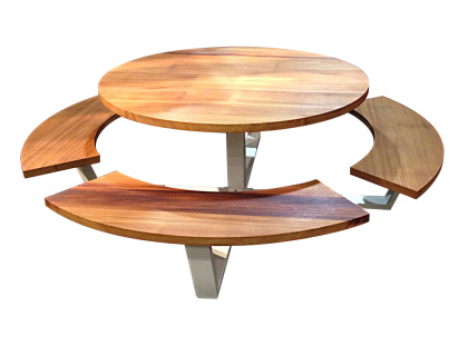 Handmade picnic tables cassecroute wood and aluminium - Table ronde telescopique ...