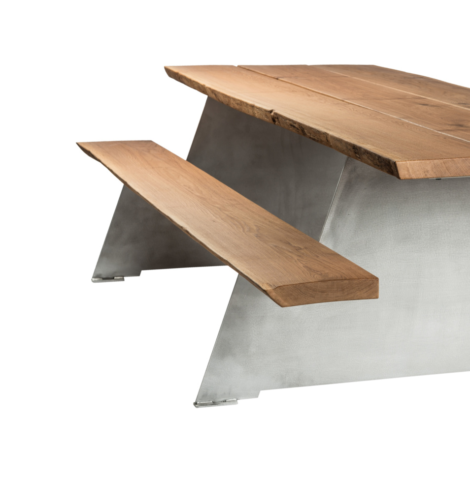 Solid picnic table cassecroute tables de pique nique for Table exterieur solide