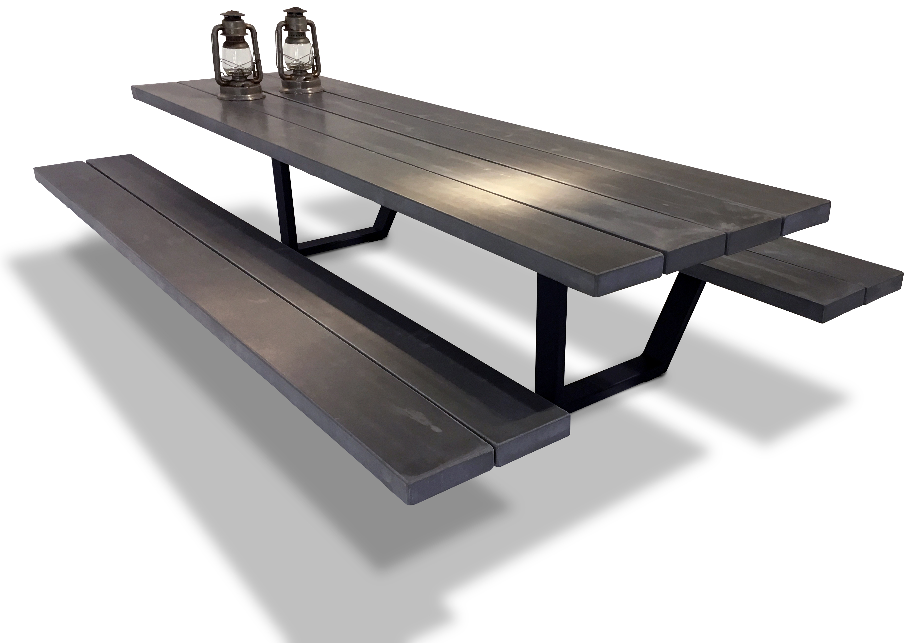 Cassecroute table concrete picnic table cassecroute for Table exterieur acier